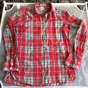 The perfect fit 3/4 button down plaid shirt